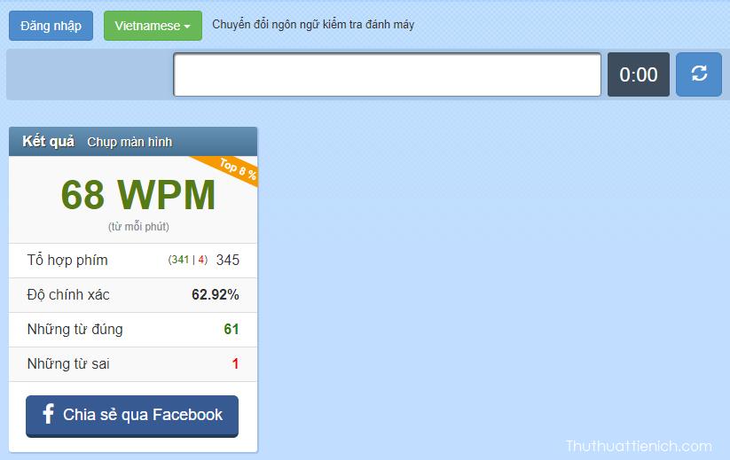 Kiểm tra tốc độ đánh máy online nhanh không cần phần mềm